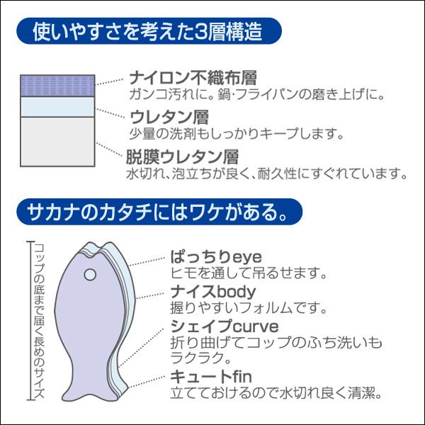 キッチンスポンジ おさかなスポンジ ハード (ブラック) K180BK