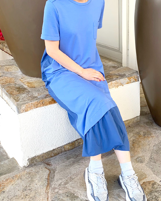 shoulder button taffeta one piece(blue)