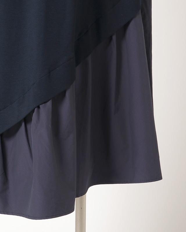 shoulder button taffeta one piece(navy)