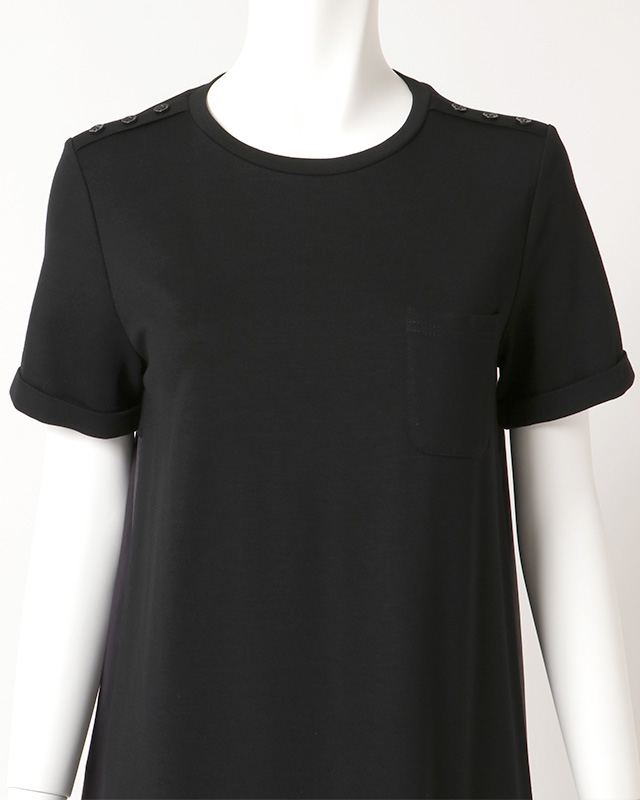 shoulder button taffeta one piece(black)
