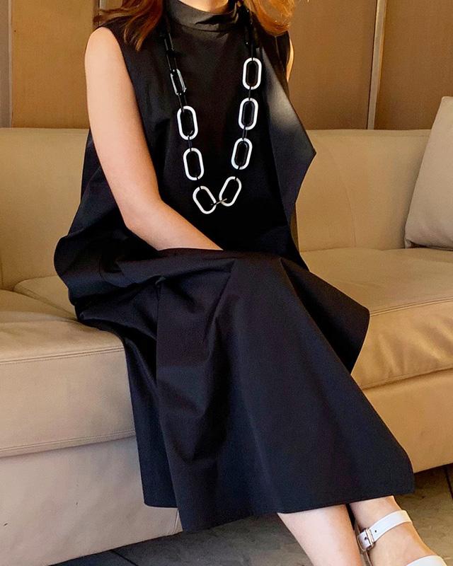 monotone draped onepiece(black)