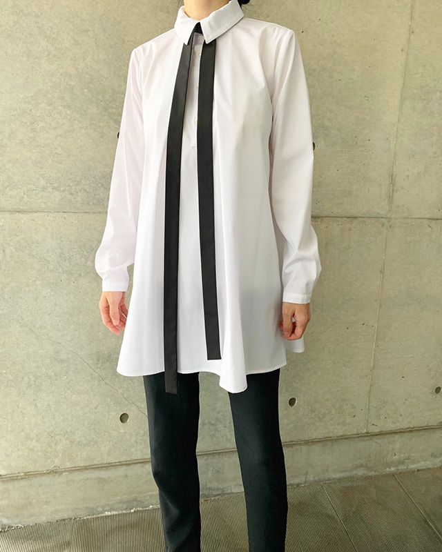 long sleeved bow tie blouse(White)