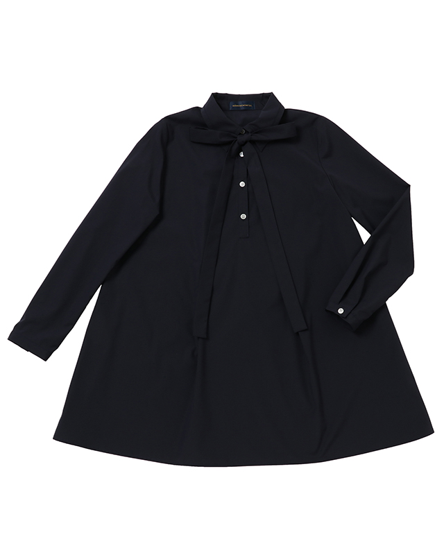 long sleeved bow tie blouse(Navy)