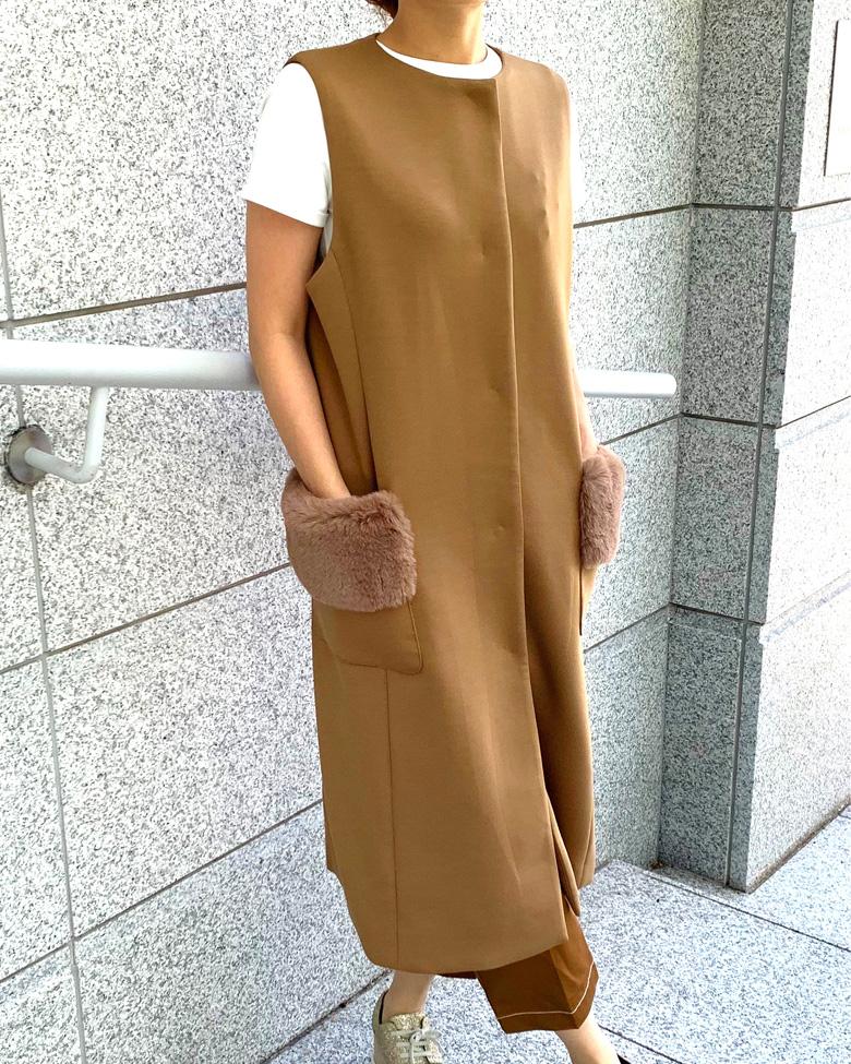 【final mark down sale50%OFF】 pocket fur gilet(beige)