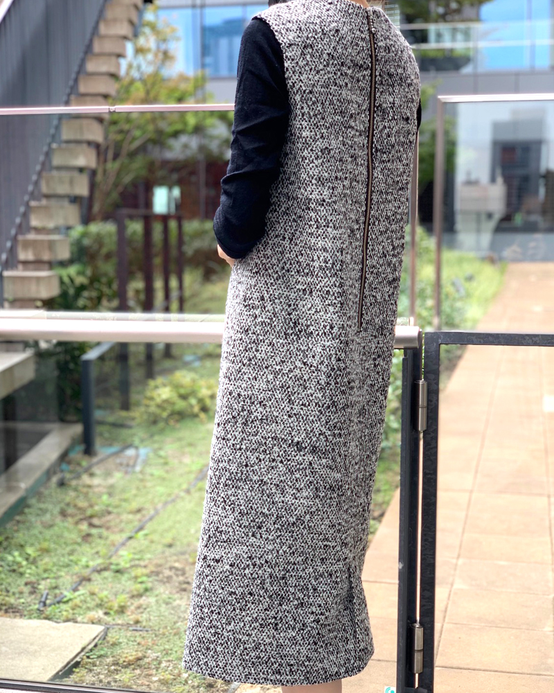 【final mark down sale50%OFF】 mix tweed onepiece(black)