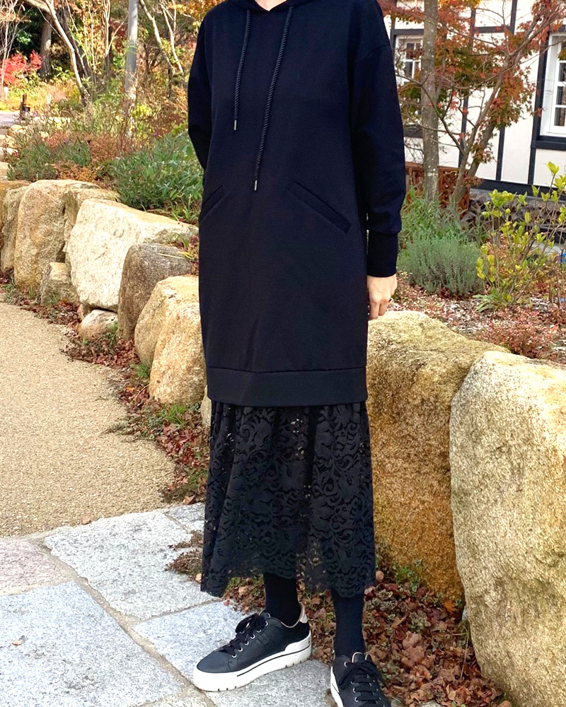 【final mark down sale 50%OFF】lace long pullover(black×black)