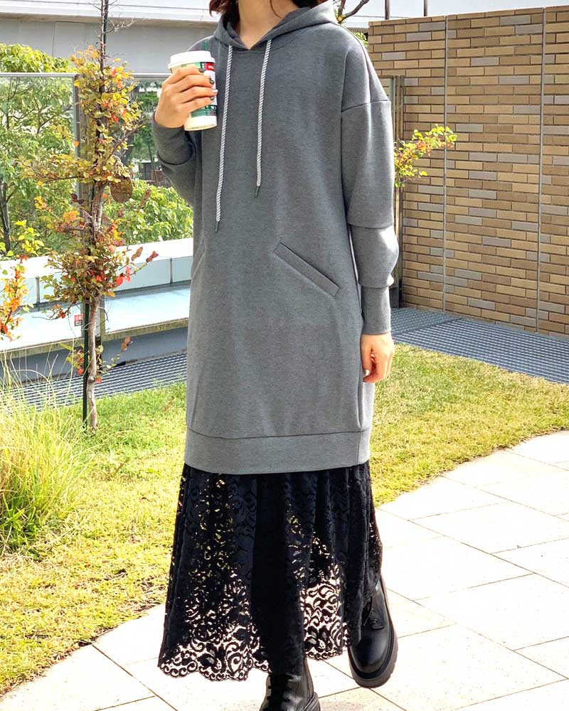 【final mark down sale 50%OFF】lace long pullover(gray×black)