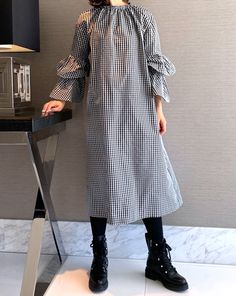 【final mark down sale 50%OFF】gingham taffeta onepiece