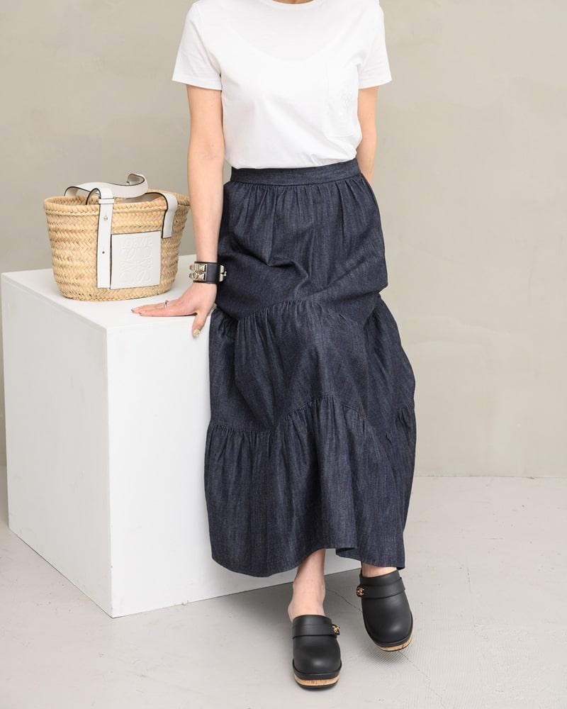 《再販》tiered denim skirt