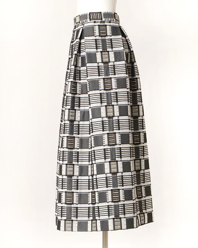 multi color gold thread skirt(grey)