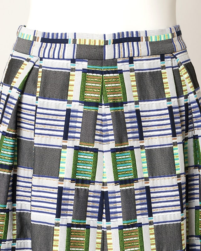 multi color gold thread skirt(blue)