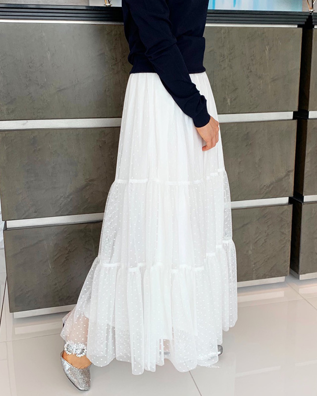 【final mark down sale50%OFF】dot lace long skirt(white)