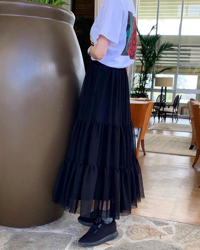 dot lace long skirt(black)