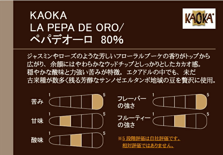 カオカ ペパデオーロ(カカオ分80%) / 1KG