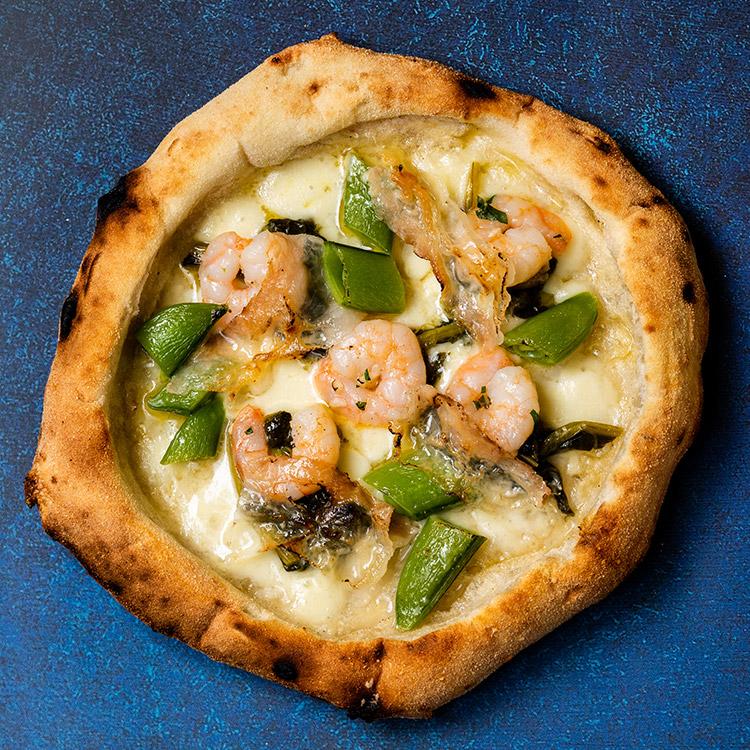 ガンべレッティ エ ラルド(小海老と春野菜とラルドのピザ)