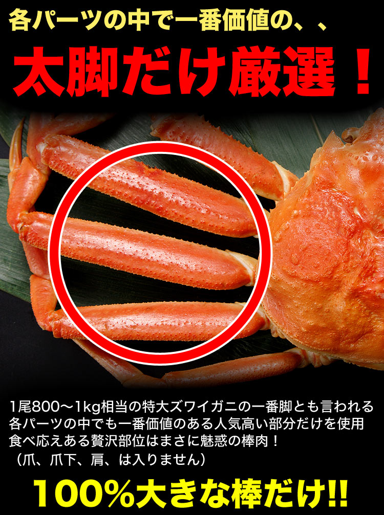 ズワイガニ 生 ポーション 特大 1kg 前後(剥き身 剥身 むきみ かにしゃぶ 棒肉 足 脚)(かに 蟹 ずわい蟹 ズワイ蟹)