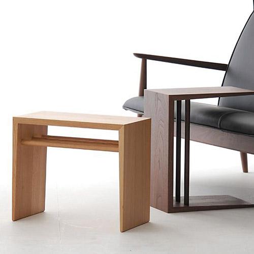 日進木工 ac-cent(アクセント) 2wayサイドテーブル オーク 無垢材 高さ40/47cm
