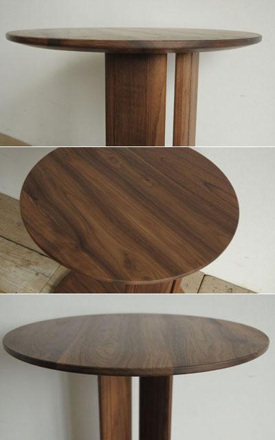 コンテ サイドテーブル 丸テーブル 円形 木製 無垢 ウォールナット