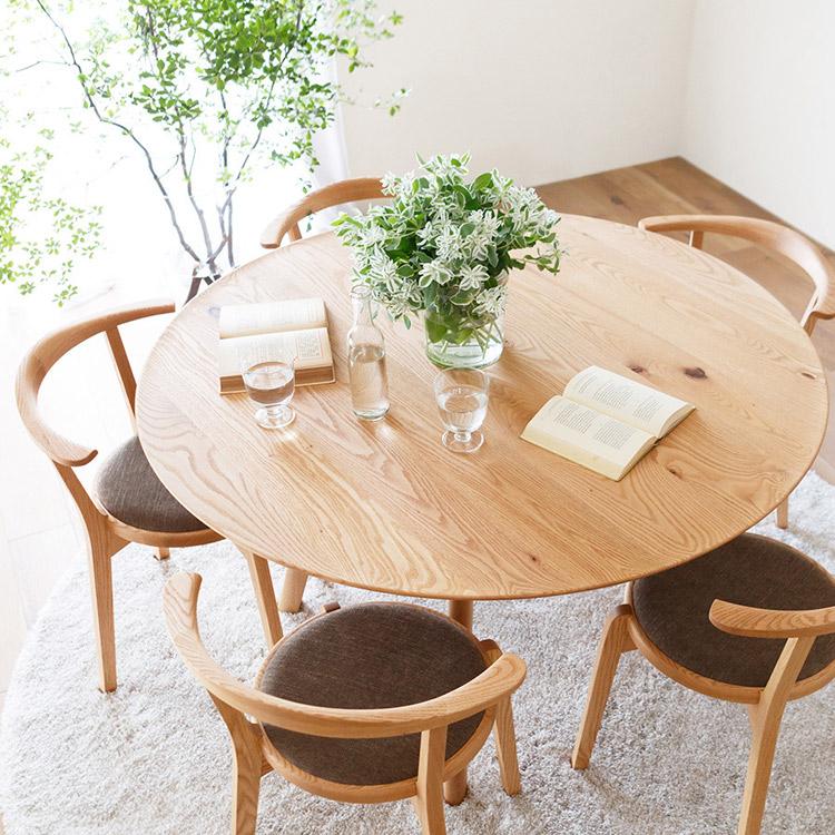 AGILE(アジレ) 丸テーブル ダイニングテーブル オーク材 無垢 円形 105/119/133