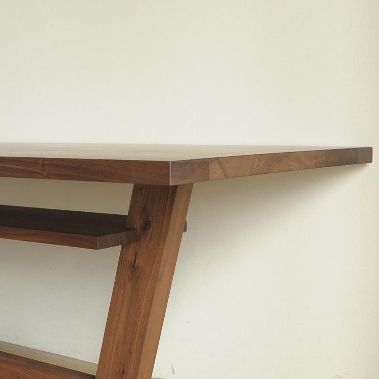 LIBERIA PLUS(リベリアプラス) ダイニングテーブル 低め ウォールナット オーク 無垢材 幅140-210cm