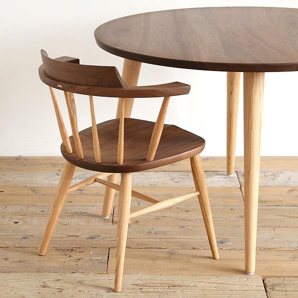 高山ウッドワークス 円形ダイニングテーブル 幅105/120cm ウォールナット オーク 無垢