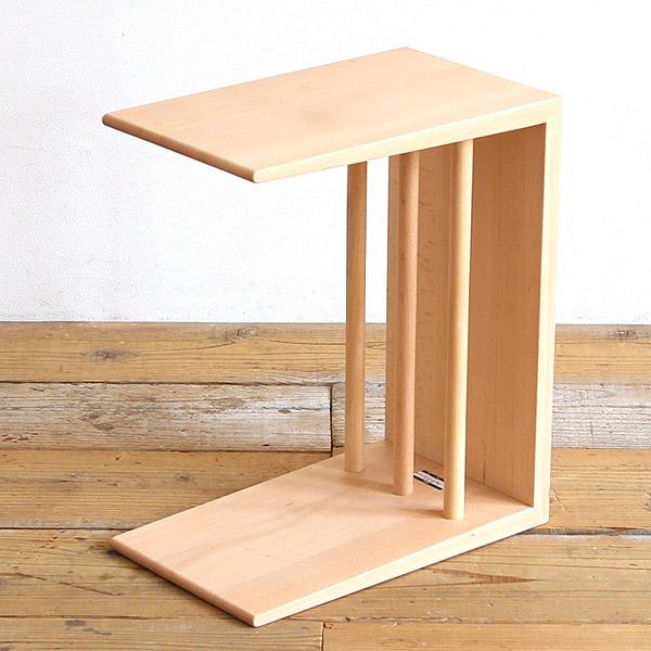 日進木工 ac-cent(アクセント) 2wayサイドテーブル ブナ 無垢材 高さ40/47cm