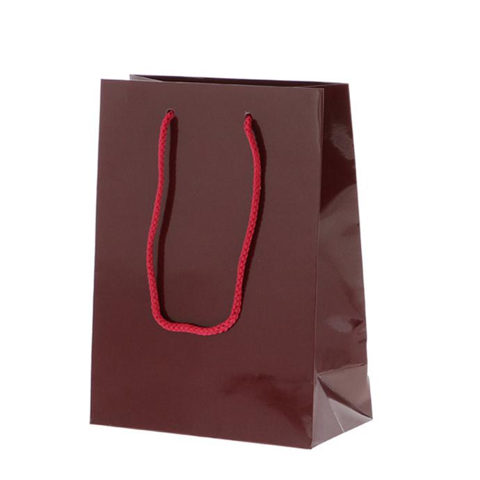 HEIKO 紐手提げ紙袋 ブライトバッグ エンジ(グロスPP貼り)