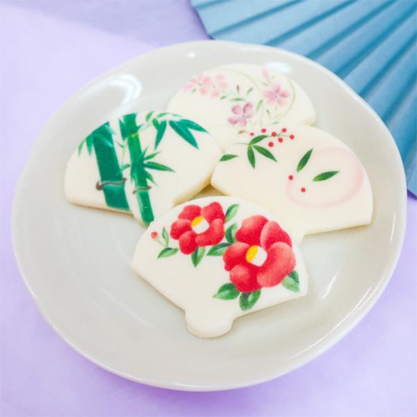 【京の扇子しょこら】桜BOX  (3枚入/椿・竹・季節柄)