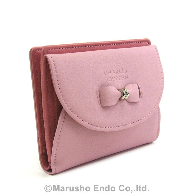 【シャルル ジョルダン】 エマーブル パース 2つ折り財布 [55-3351]/ピンク