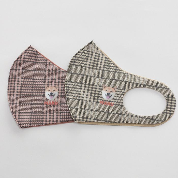 ウレタン素材の柴犬まるチェック柄マスク