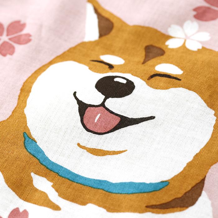 絵てぬぐい 柴犬まる 桜舞う