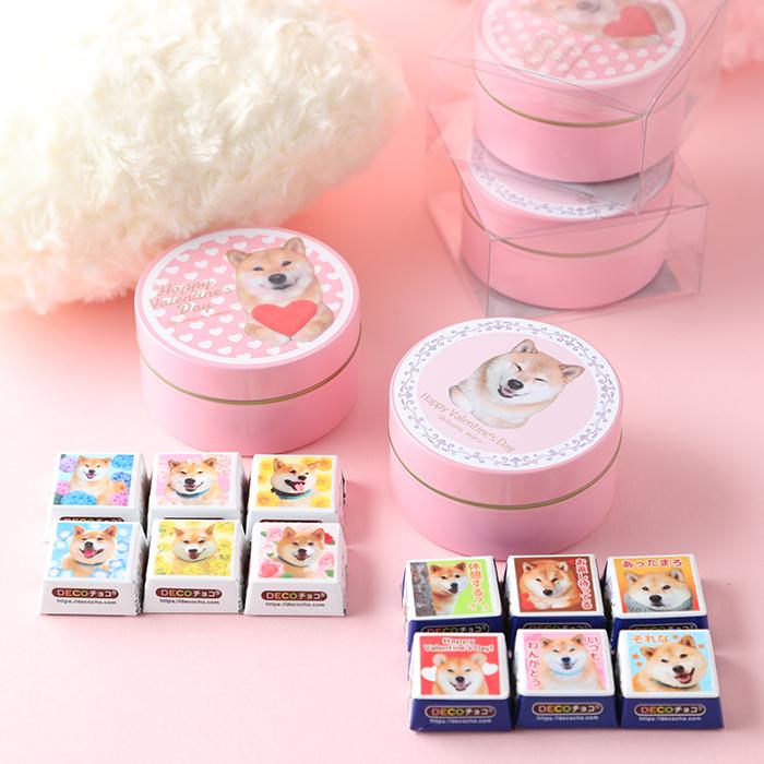 柴犬まるのDECOチョコ6個入り☆ピンク缶