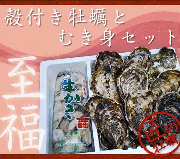 殻付き牡蠣と剥き身のセット(500gとL10個)