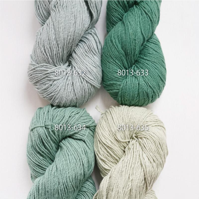 手つむぎ糸|417/2 カラー60色 白緑