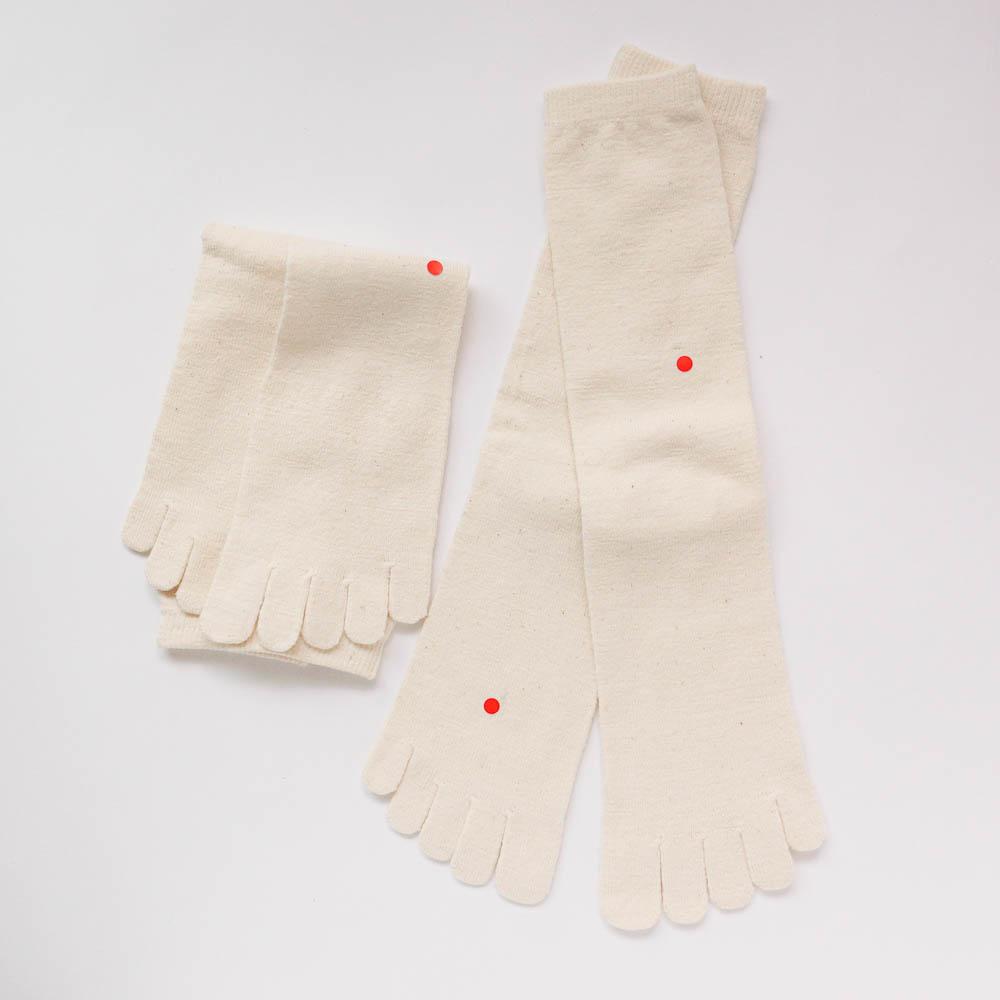 ガラ紡の5本指靴下 M 2枚組