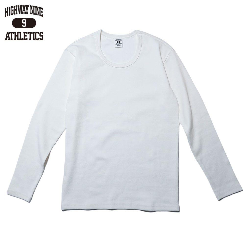 HIGHWAY NINE ハイウェイナイン U-NECK RIB L/S Tee  / WHITE