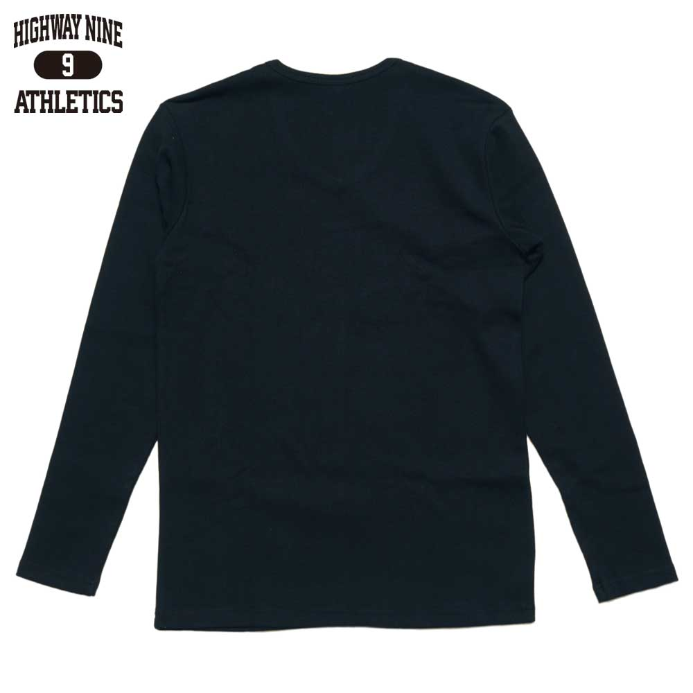 HIGHWAY NINE ハイウェイナイン V-NECK RIB L/S Tee  / BLACK
