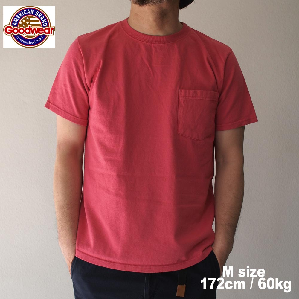 GOODWEAR グッドウェアー SS POCKET Tee /  USED RED