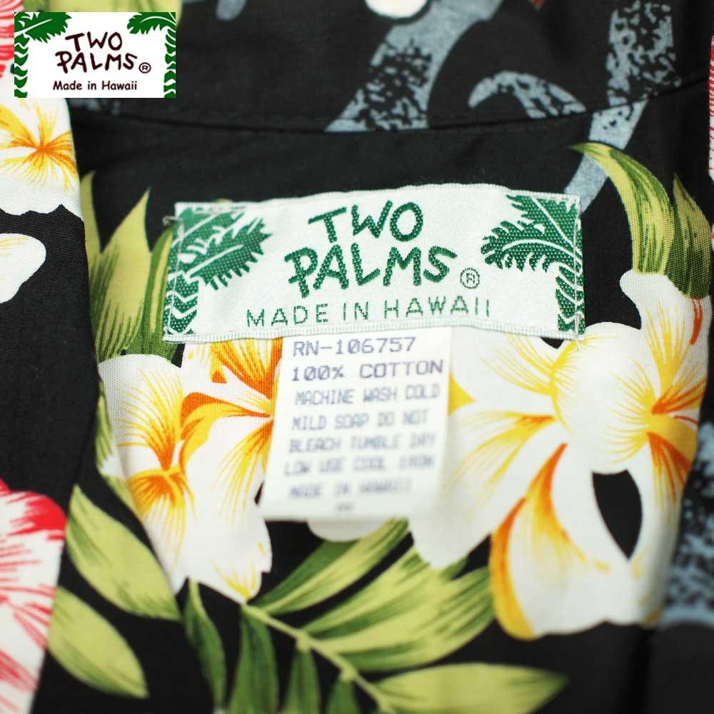 TWO PALMS トゥーパームス SS HAWAIIAN SHIRTS / PLUMERIA BLACK