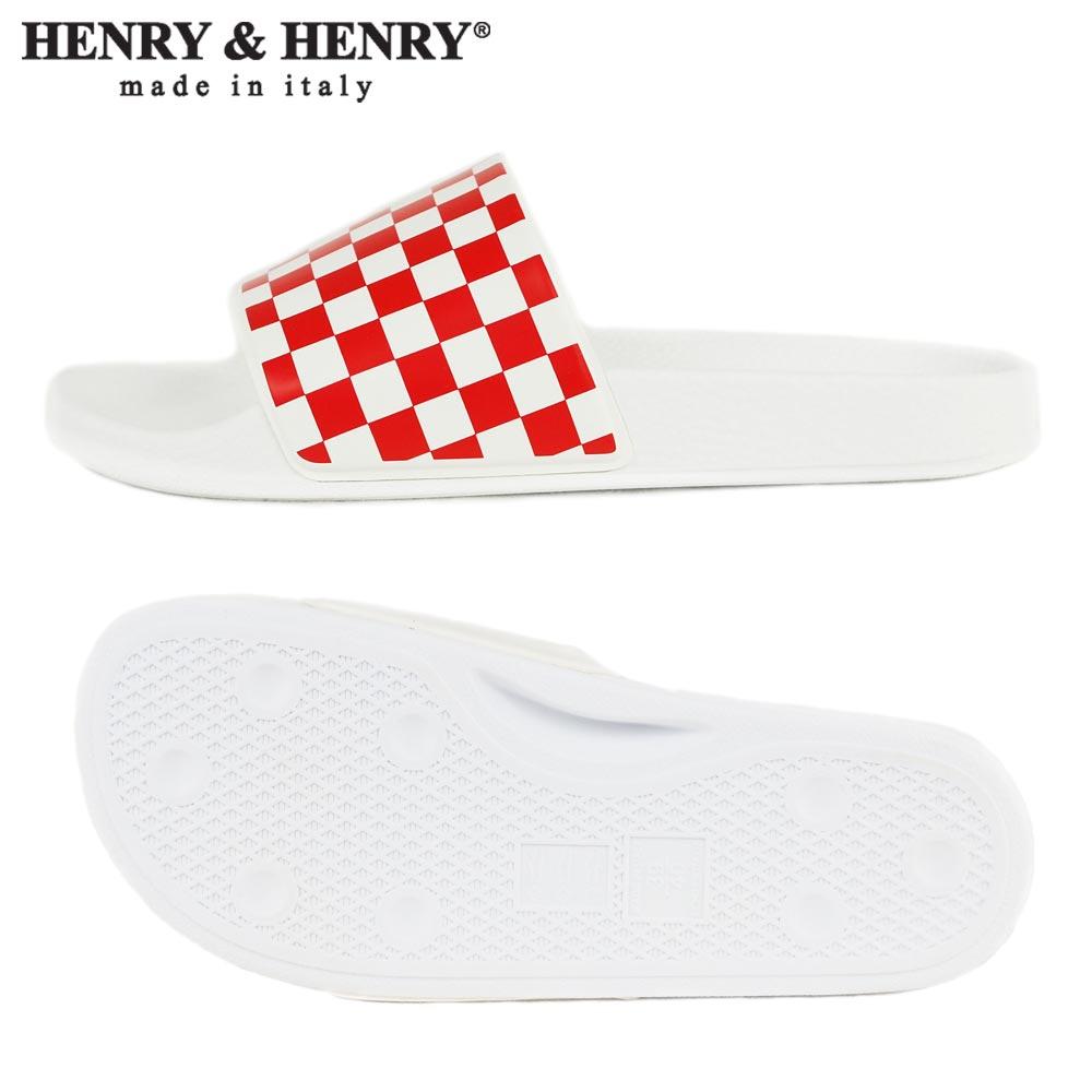 HENRY&HENRY  180 / RED/WHT CHECK × WHITE