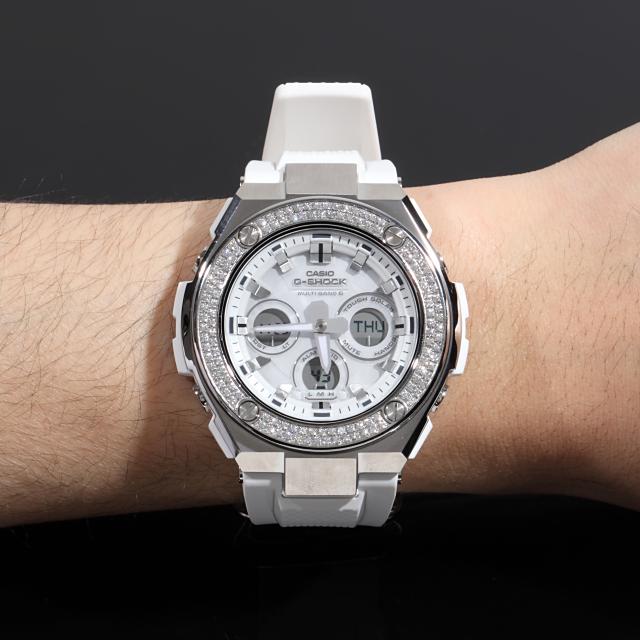 G-SHOCK GST w310 G-Steel ホワイト カスタム CZダイヤベゼル セレブ 時計