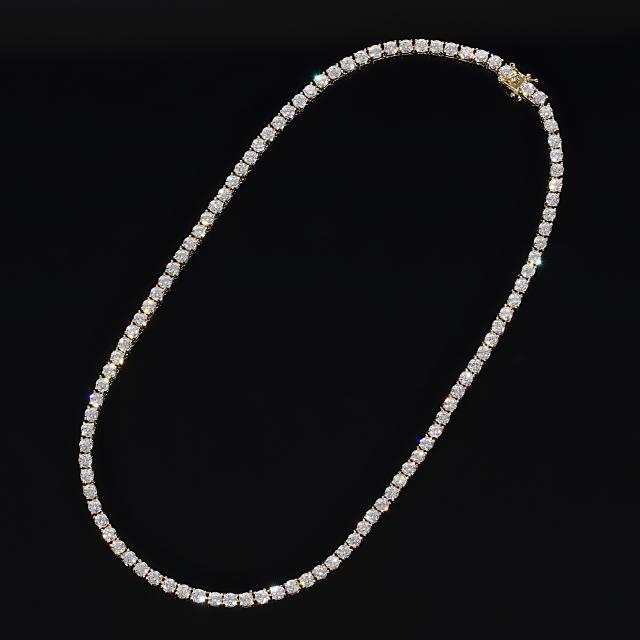 4mm x 45cm テニスネックレス CZダイヤ(キュービックジルコニア) テニスチェーン イエローゴールド TENNIS NECKLACE