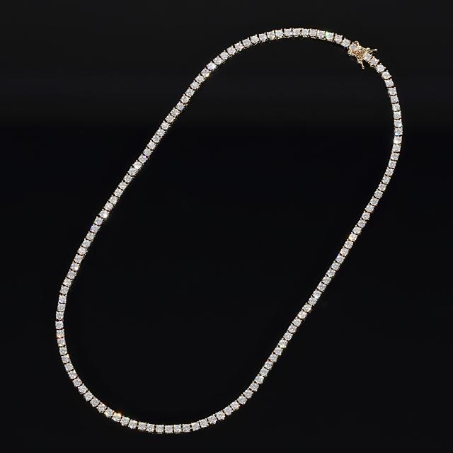3mm x 45cm テニスネックレス CZダイヤ(キュービックジルコニア) テニスチェーン イエローゴールド TENNIS NECKLACE