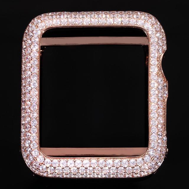 アップルウォッチ シリーズ6・SE・5・4 最新モデル AppleWatch カスタムベゼル CZ おしゃれ カバー 【40mm専用】 ホワイトゴールド ゴールド18K ローズゴールド