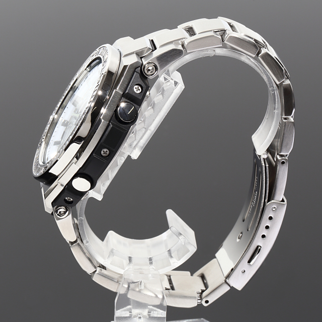G-SHOCK GST w110 バゲットCZダイヤ(キュービックジルコニア)カスタムベゼル メタルバンド ホワイト文字盤