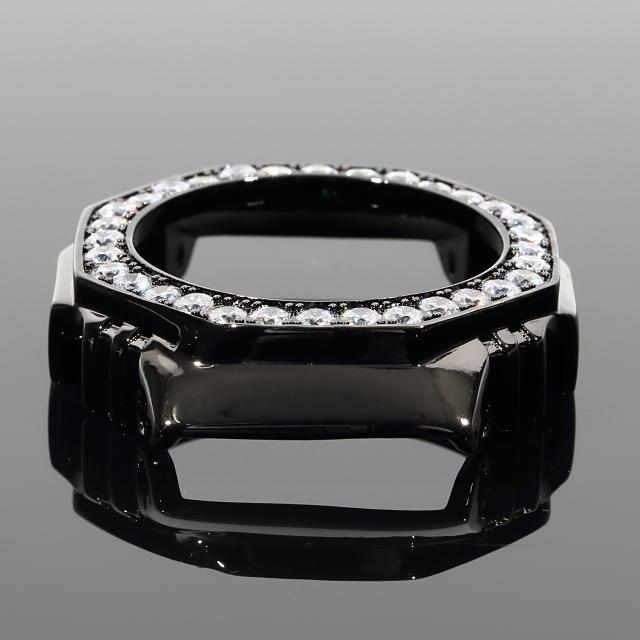 Gショック G-SHOCK GA2100 カスタムパーツベゼル 大粒CZダイヤ(キュービックジルコニア) カスタム 18K ブラックゴールド メンズ プレゼント ギフト