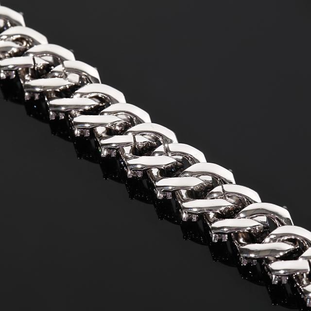 マイアミキューバンチェーン ネックレス スラッシュペンダントセット12mm x 45cm 18Kホワイトゴールド 大粒CZダイヤ(キュービックジルコニア)バックルCZカスタム ギフト プレゼント 時計 メンズ レディース お祝い 誕生日
