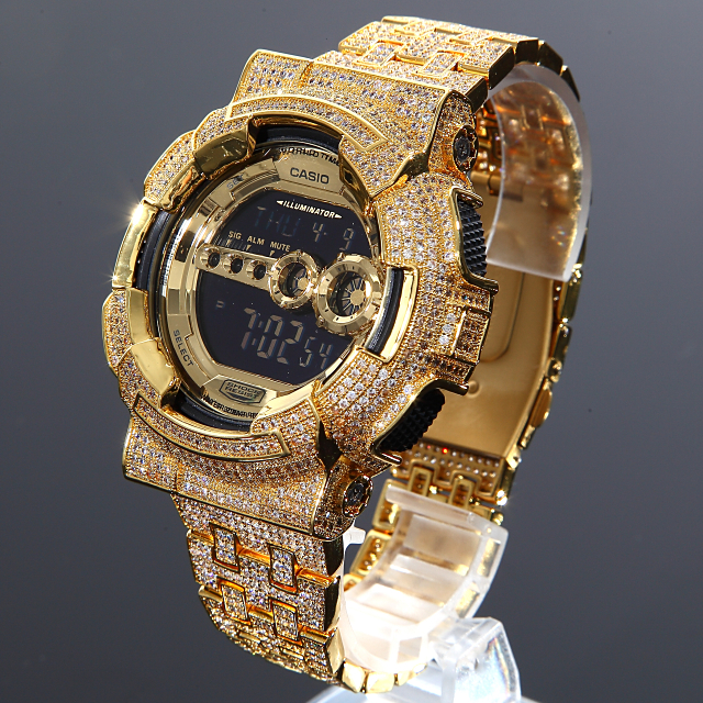 G-SHOCK カスタム GD100 フルカスタム Gショック CZダイヤベゼル(キュービックジルコニア)18Kゴールド