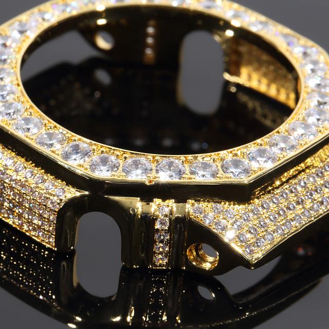 Gショック G-SHOCK GA2100 カスタムパーツベゼル 大粒CZダイヤ(キュービックジルコニア) カスタム 18K ゴールド