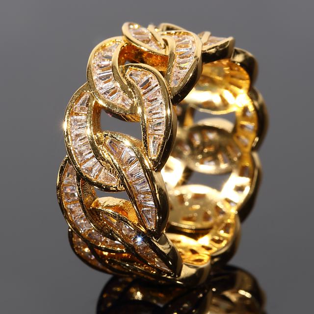 マイアミキューバンリング メンズリング YG イエローゴールド バゲットカットCZダイヤ(キュービックジルコニア) 幅10mm 16号 プレゼント お祝い ギフト 誕生日